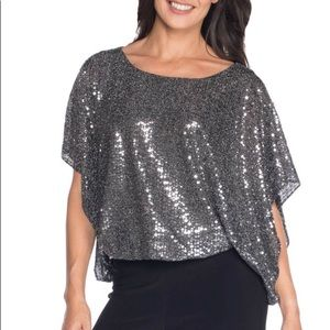 Last Tango sequin batwing top silver